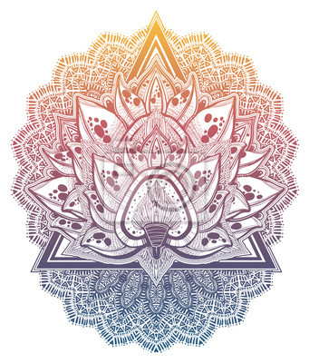 Vinilo Decorative blossoming lotus flower. Hand drawn element in ethnic oriental, Indian style.