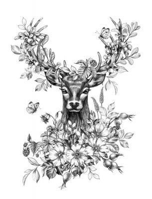 Vinilo Deer with Flowers, Berries and Butterflies Pencil Drawing