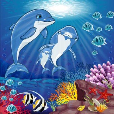 Vinilo Delfines en el fondo del mar