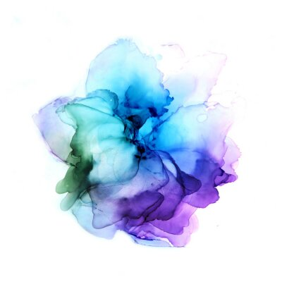 Vinilo Delicate hand drawn watercolor flower in blue and violet tones. Alcohol ink art. Raster illustration.