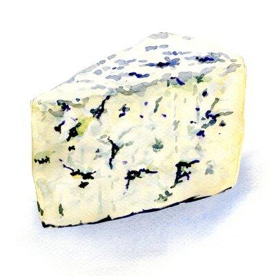 Vinilo delicioso queso de molde sobre un fondo blanco