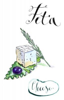 Vinilo Delicioso queso feta griego en rodajas con aceituna, romero y sala