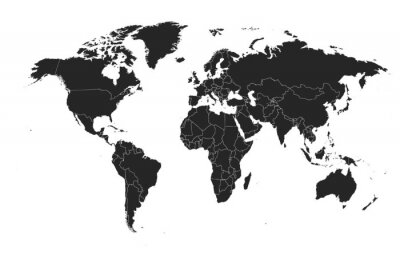 Vinilo Detailed, high resolution, accurate vector map of the world