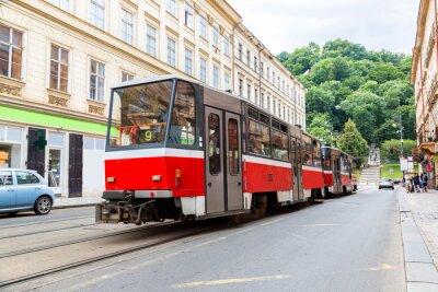 Vinilo Detalle de tranvía rojo de Praga, República Checa