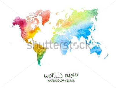 Vinilo Dibujado a mano acuarela mapa del mundo aislado en blanco. Versión vectorial