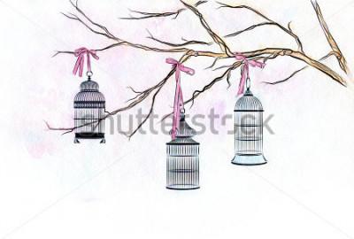 Vinilo Dibujado a mano acuarela tres jaulas de pájaros en las ramas de un árbol con cintas de color rosa.