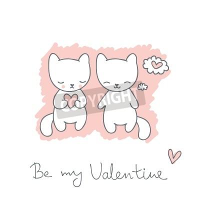 Dibujado a mano boceto postal con gatos y corazones, y el texto ...
