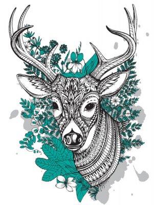 Vinilo Dibujado a mano ciervo con cuernos de vector con detalles de alta ornamento