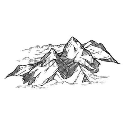 Vinilo dibujado a mano de montañas vector iluustration