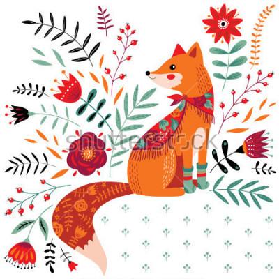 Vinilo dibujado a mano ilustración de fox