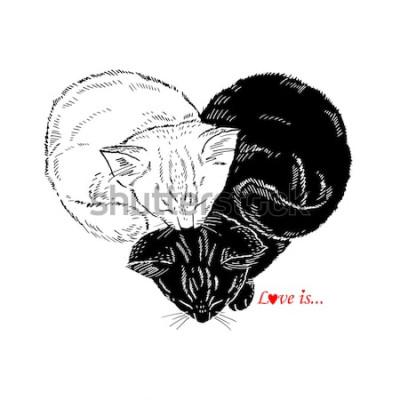Vinilo Dibujado a mano Ilustración de gatitos blancos y negros durmiendo en forma de corazón, diseño del Día de San Valentín, Amor