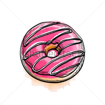 Vinilo Dibujado a mano ilustración vectorial de donut.
