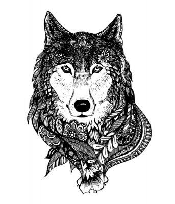 Vinilo Dibujado a mano ilustración vectorial lobo abstracto
