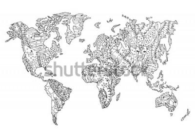 Vinilo Dibujado a mano mapa del mundo animal salvaje fauna flor floral dibujo diseño vector ilustración