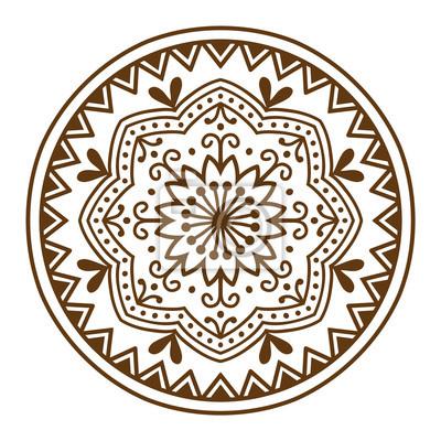 Dibujados a mano henna patrón de mandala abstracta flores y dibujo ...