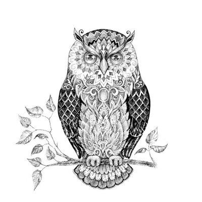 Vinilo Dibujo búho con hermosos patrones