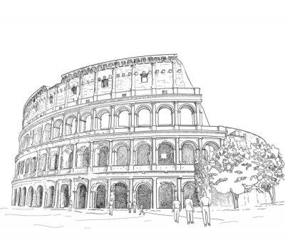 Vinilo Dibujo Coliseo romano
