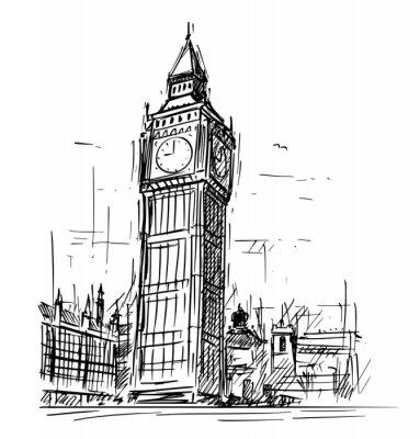 Vinilo Dibujo de boceto de dibujos animados ilustración del Palacio de Westminster, Big Ben Elizabeth torre del reloj en Londres, Inglaterra, Reino Unido.