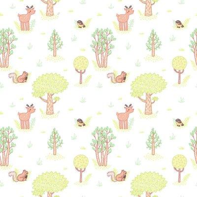 Vinilo Dibujo de estilo de los niños lindos árboles de doodle vector patrón sin fisuras.