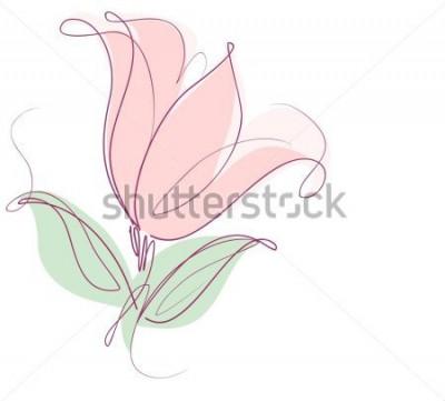 Vinilo Dibujo de gráficos vectoriales con motivos florales con tulipanes para diseño. Flor floral de diseño natural. Dibujo gráfico, boceto. tulipán.