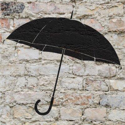 Vinilo Dibujo de un paraguas en un mur