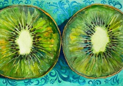 Vinilo Dibujo de una acuarela sobre papel, fruta, kiwi