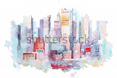 Vinilo Dibujo en acuarela del paisaje urbano de Nueva York, Estados Unidos. Pintura de la acuarela de manhattan