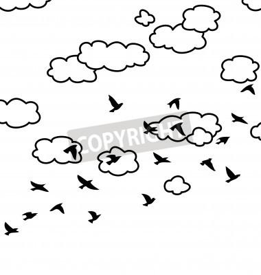 Dibujo en blanco y negro de la bandada de pájaros y las nubes ...