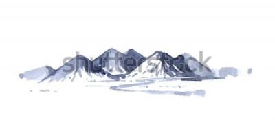 Vinilo Dibujo montañas acuarela
