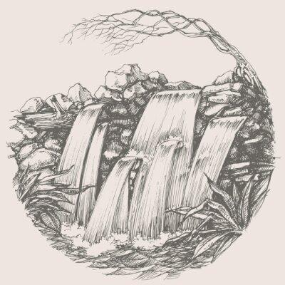 Vinilo Dibujo ronda Cascada
