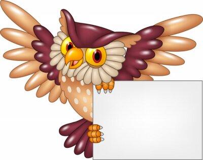 Vinilo Dibujos animados búho aves volando celebración signo en blanco