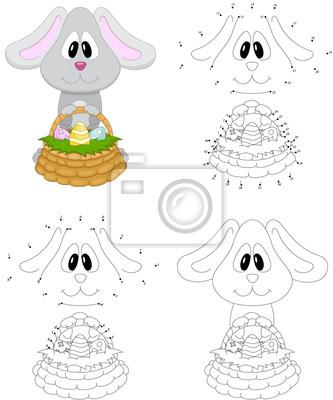 Dibujos animados conejito de pascua con cesta de huevos. libro ...