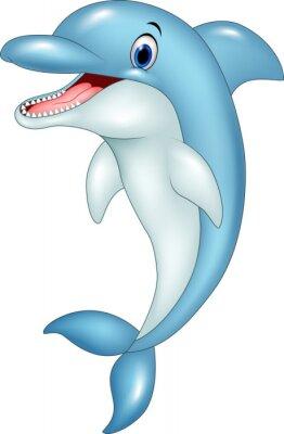 Vinilo Dibujos animados divertidos delfines saltando