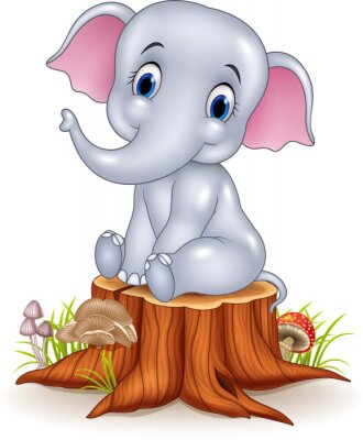Vinilo Dibujos animados elefante bebé divertido sentado en el tocón de árbol