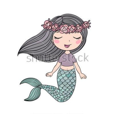 Vinilo Dibujos animados hermosa sirenita en una guirnalda. Sirena. Tema del mar ilustración vectorial sobre un fondo blanco.
