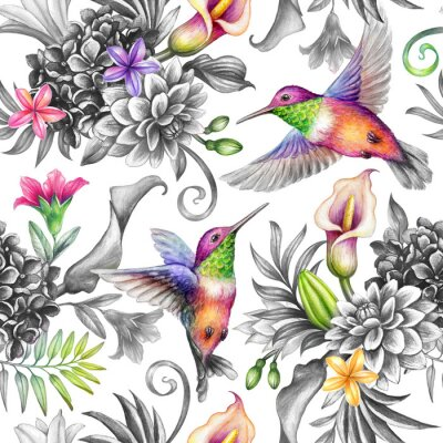 Vinilo digital watercolor botanical illustration, seamless floral pattern, wild tropical flowers, humming birds, white background. Paradise garden day. Palm leaves, calla lily, plumeria, hydrangea, gerber