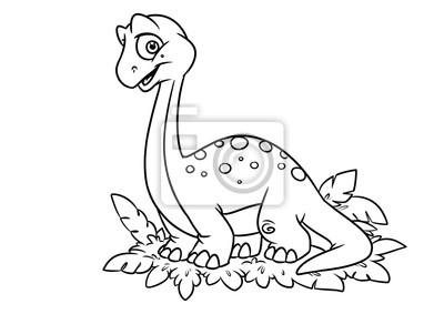 Vinilo Dinosaur Para Colorear Dibujos Animados De La Página