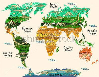 Vinilo Dinosaurs map of the world for children and kids