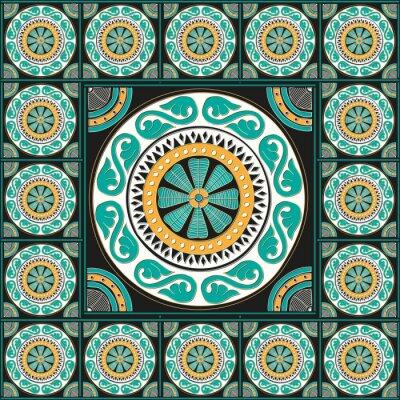 Vinilo Diseño azulejo romano azul