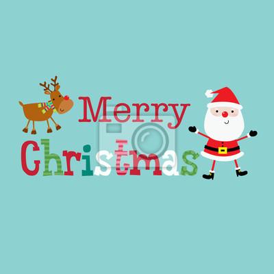 9e6952aed2f52 Vinilo Diseño de Navidad con Feliz Navidad texto entre Papá Noel lindo y  reno ilustración vectorial
