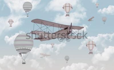 Vinilo Diseño de papel tapiz para habitación infantil Biplane in the sky