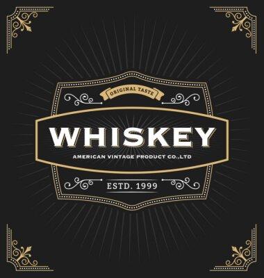 Vinilo Diseño del marco del vintage para las etiquetas, la bandera, el logotipo, el emblema, el menú, la etiqueta engomada y el otro diseño. Conveniente para el whisky, la cerveza, la cafetería, el hotel, el