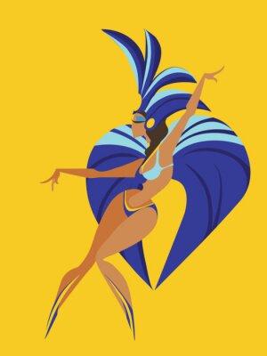 Vinilo Diseño geométrico plano de la danza samba reina