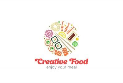 Vinilo Diseño japonés chino del logotipo de los mariscos del Sashimi del sushi.
