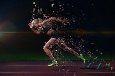 Vinilo diseño pixelado de la mujer velocista dejando la salida