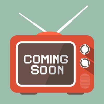 Vinilo Diseño plano Próximamente vectorial Título en la pantalla de TV Retro