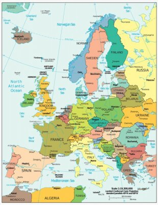 Vinilo Divisiones políticas europeas