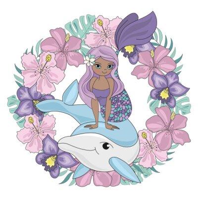 Vinilo DOLPHIN WREATH Floral Mermaid Cartoon Underwater Sea Ocean Cruise Travel Tropical Animal Vector Illustration Set for Print Fabric and Decoration