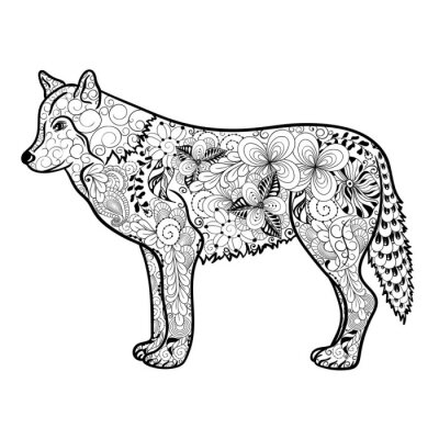 Vinilo Doodle de Lobo