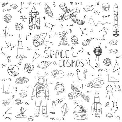 Vinilo Doodle dibujado a mano Espacio y cosmos conjunto Ilustración vectorial Iconos del universo Concepto de espacio de elementos Rocket Nave espacial símbolos colección Sistema solar Planetas Galaxia Vía L